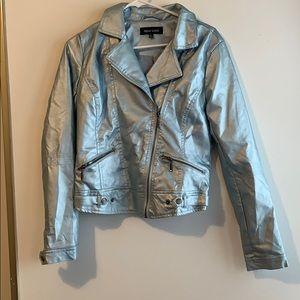 Faux Leather Ice Blue bomber jacket NWOT medium